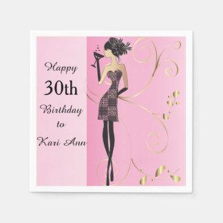 Customize Classy Birthday Girl Napkin