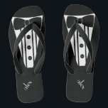 """Customize Color Tuxedo -Groomsmen Flip Flops<br><div class=""""desc"""">The perfect touch to your destination beach or poolside wedding. CUSTOMIZE THE COLOR- flip flops with a black formal tuxedo, white shirt and bow tie image. Your groomsmen will help you marry in style with these fashionable """"Formal Tuxedo Flip-Flops"""" Add a matching wedding style for the bridesmaids! Please visit my...</div>"""