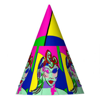 CUSTOMIZE COLORFUL  RETRO ART PRINT PARTY HATS
