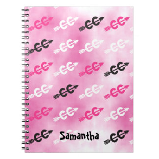 Customize - Cross Country Dazzle PINK Typography Spiral Notebook