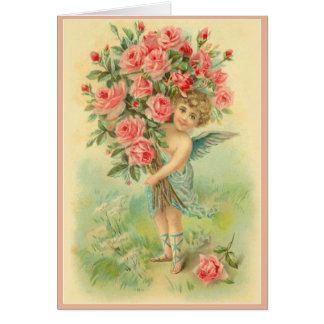 Customize Cupid Angel with Roses Card