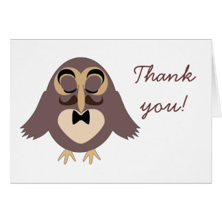 Customize Cute brown owl with Moustache Thank you Card