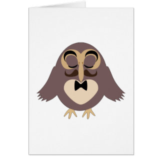 Customize Cute Brown owl with Mustache Card