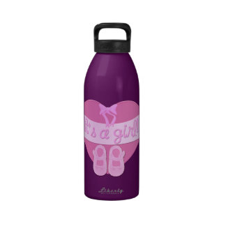 Customize Cute Heart Bow Baby Girl Shower Reusable Water Bottles