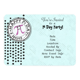 Customize - Cute Polka Dot Happy Pi Day Party Card