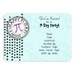 "Customize - Cute Polka Dot Happy Pi Day Party 5"" X 7"" Invitation Card"