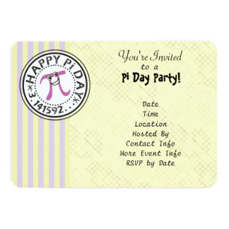 Customize - Cute Striped Happy Pi Day Party Card
