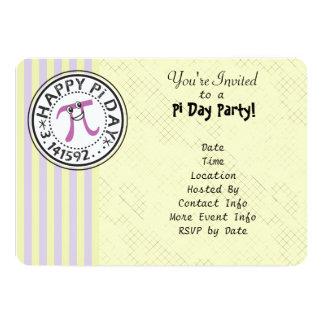 Customize - Cute Striped Happy Pi Day Party 5x7 Paper Invitation Card