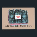 """Customize Cute Vintage Cat Food Mat with Name<br><div class=""""desc"""">Add one or more cat names to the front side of this place mat that has the kittens with the heart on the sign. Or you can add a saying of your choice if you prefer. Reverse back side of this place mat has the same kittens a bit larger with...</div>"""