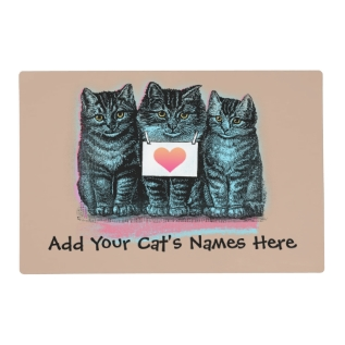 Customize Cute Vintage Cat Food Mat With Name at Zazzle