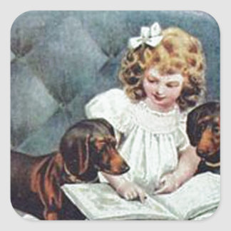Customize Dachshunds with child Vintage Art gifts Square Sticker