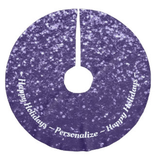 Customize Dark ultra violet purple glitter spakles Brushed Polyester Tree Skirt