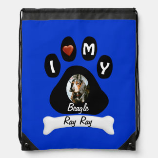 Customize Doggie Paw Print -photo,name and breed Drawstring Bag
