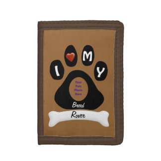 Customize Doggie Paw Print -photo,name and breed Tri-fold Wallets