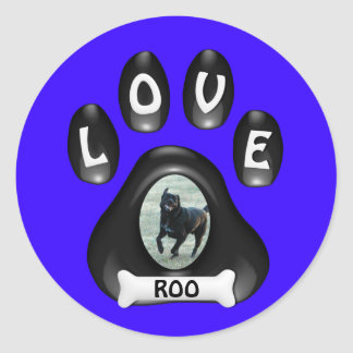 (Customize)Doggie Paw with Picture and Name Classic Round Sticker