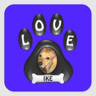 (Customize)Doggie Paw with Picture and Name Square Sticker