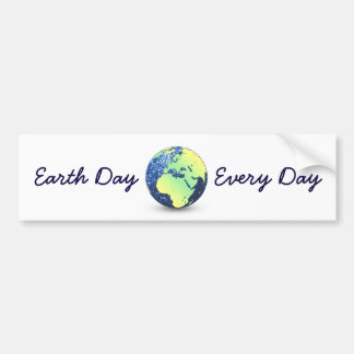 Customize Earth Day Every Day blue sparkles Globe Bumper Sticker