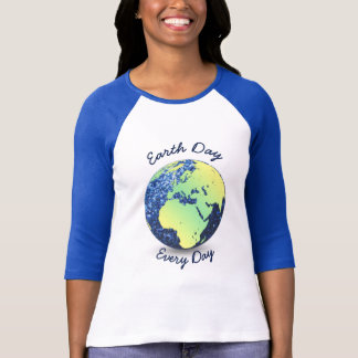 Customize Earth Day Every Day blue sparkles Globe T Shirt