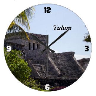 Customize El Castillo de Tulum - Mayan ruins Large Clock