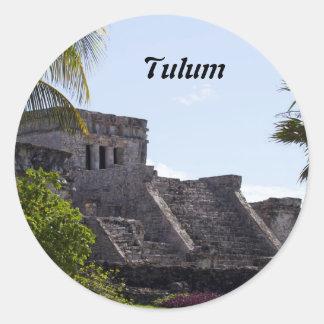 Customize El Castillo de Tulum - Mayan ruins Classic Round Sticker