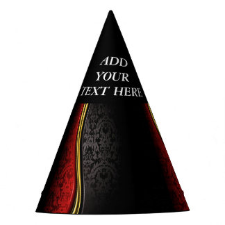CUSTOMIZE ELEGANT RED AND BLACK PARTY HAT