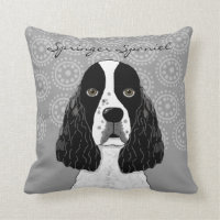 Customize English Springer Spaniel Dog on Gray Throw Pillow