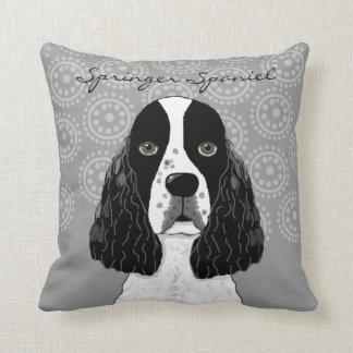 Customize English Springer Spaniel Dog on Gray Throw Pillow