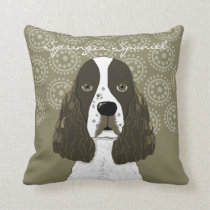 Customize English Springer Spaniel in Brown White Throw Pillow