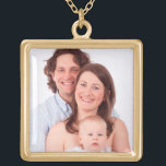 """Customize family photo gold finish necklace<br><div class=""""desc"""">Customize family photo. Easily personalize by replacing the template photo with a memorable photo of your own family.</div>"""