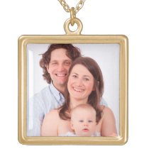 Customize family photo gold finish necklace