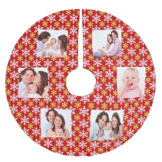 Customize family photos brushed polyester tree skirt