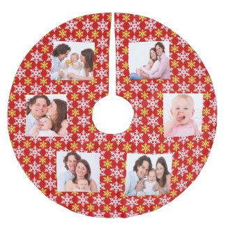 Customize family photos brushed polyester tree skirt