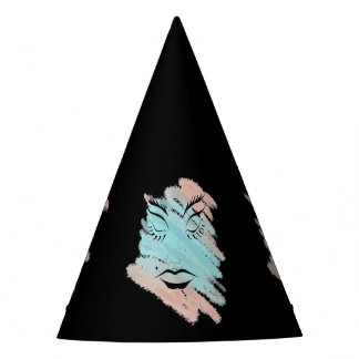 CUSTOMIZE FASHION ABSTRACT PINK AND BLUE PARTY HAT