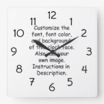Customize Font, Font Color, Background, Image Square Wall Clock
