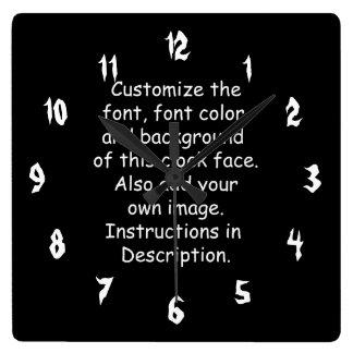 Customize Font, Font Color, Background, Image Square Wallclocks
