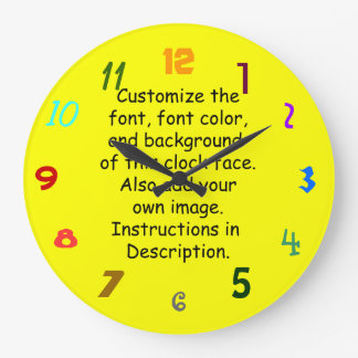 Customize Font, Font Color, Background, Image Wall Clocks