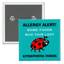 Customize Food Allergy Alert Ladybug Button