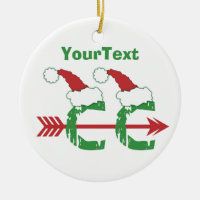 CUSTOMIZE Funny Christmas © Cross Country 1-sided Double-Sided Ceramic Round Christmas Ornament