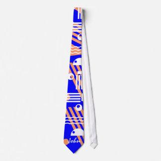 Customize Geometric Orange & Blue Tie