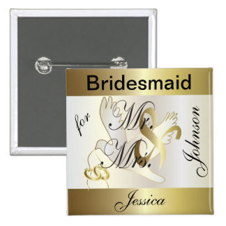 Customize Gold and White Dove Wedding Party Pinback Button