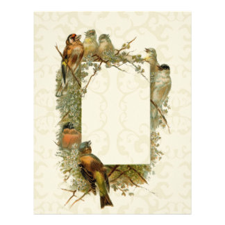 Customize gold vintage art  birds frame - ornate letterhead