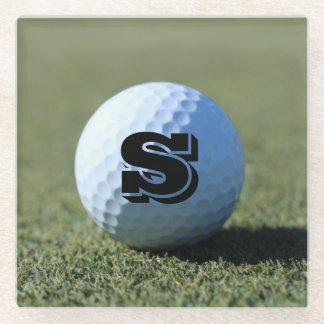 Customize Golf Ball on Green close-up photo Glass Coaster