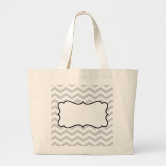 Customize Gray And White Chevron Design Tote Bags