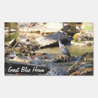 Customize Great Blue Heron standing in creek photo Rectangular Sticker