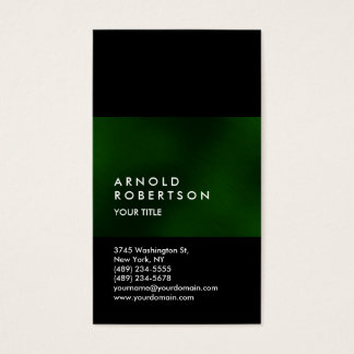 Customize Green Black Professional Business Card