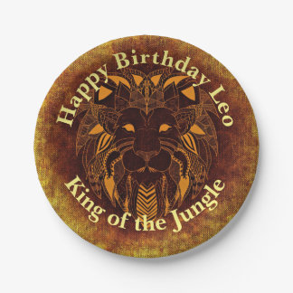 Customize Happy Birthday Golden Brown Tribal Lion Paper Plate
