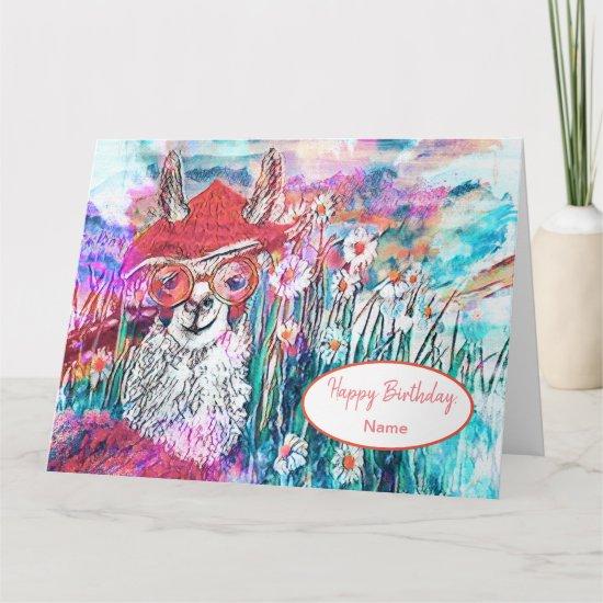 Customize Happy Birthday Mama Llama  Card