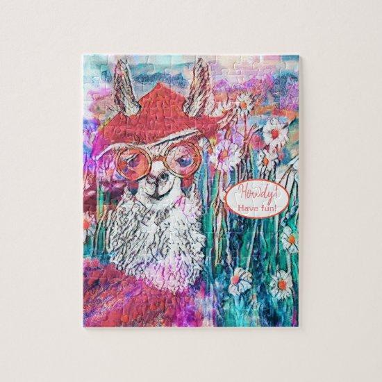 Customize Happy Birthday Mama Llama  Jigsaw Puzzle