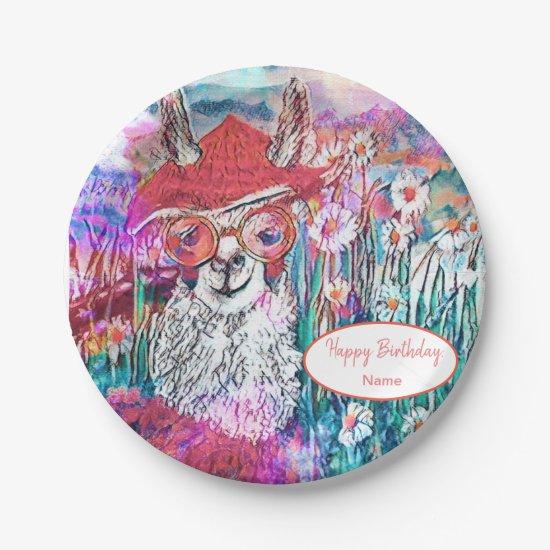 Customize Happy Birthday Mama Llama Paper Plate