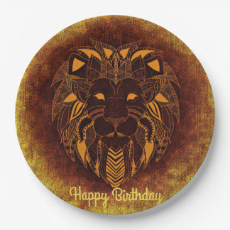 Customize Happy Birthday Yellow Tribal Lion Paper Plate